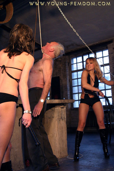 Hanging up the old slave and whipping him   Femdom United
